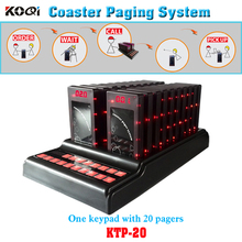 Coaster Paging System 1 keypad 20 Guest Coaster Pager With Screen Display Call Number Waiter Call Customer Personal Pager(China)