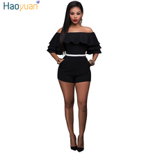 HAOYUAN Off Shoulder Ruffles Rompers Womens Jumpsuit 2017 New Body Backless Overalls Shorts Pockets Summer Bodycon Sexy Playsuit