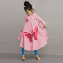 2017 Children Girl Spring Dress Max Batwing Loose Asymmetric Long Sleeve Girl Dress For Kids Costume Casual Butterfly printing