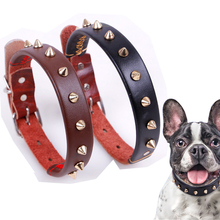 Punk Style Pet Dog Collar Spiked Round Bullet Nail Rivet Studded Neck Strap Collar for dogs high Quality Leather collars