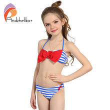 Andzhelika Summer 2017 New Girls Bikini Striped Top Big bow Children's Swimwear Bikini Set Swim Suit For Girl Swimwear AK23(China)
