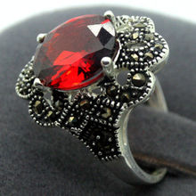 FREE SHIPPING>>>@@ Red Faceted Crystal 17x22MM 925 Sterling Silver Marcasite Ring Size 7/8/9/10(China)