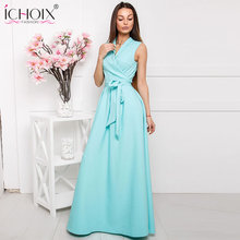 Buy 2018 Summer Long Dress Women Solid Sexy V-neck Maxi Dress Floor Length Dress Style Blue Chiffon Elegant Party vestido Robe S-2XL for $15.98 in AliExpress store