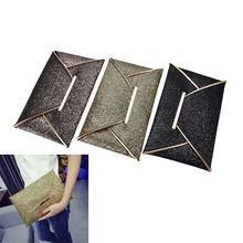 1PC 2017 luxury shiny envelope clutch wedding bags for women evening party bag glitter ladies hand bags  black purse handbag
