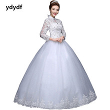 Custom High collar stand collar full sleeve lace women wedding dresses (ling)