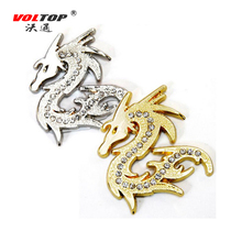 VOLTOP  Stereo Metal Dragon Car Stickers Cool Diamond Sticker Auto Moto Sticker Car Styling Silver Gold Decorations Accessories