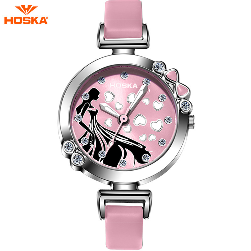 50m Waterproof HOSKA Brand Cute Cinderella Children Watch Leather Diamond Casual Wristwatch for Girl EP Material Clock Halloween<br><br>Aliexpress