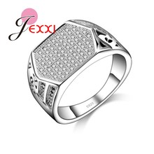 JEXXI Drop Shipping Unusual Zircon Rhinestone Crystal Fashion Jewelry Women 925 Sterling Silver Rings Free Shipping Size 7 8 9(China)