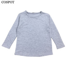 Baby Boys Girls Plain T-shirt Kids Long-sleeved Plain Black Gray White T Shirt Boy Girl Cotton Tee Tops 2017 New Arrival 25C(China)