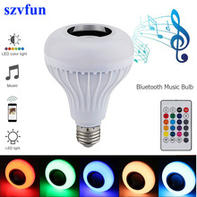 Szvfun LED Bulb E27 RGB Lamp with Sound Lampada Bluetooth Light Bulb Speaker Music Player Audio Smart 220V Led Lights for home(China)