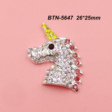 BTN-5647 Free shipping 10PCS/Lot flatback unicorn crystal rhinestone button for DIY craft scrapbook