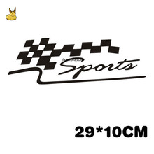 29*10cm Car Motorcycle Reflective Decal Personalized Car Stickers Decorated SPORT Race Flag for Hyundai Vw Citroen Jeep bmw audi(China)