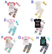 Newest Girls Childrens Clothing Sets Short Sleeve tshirts Pants Headwear 3 Piece Set Letters Arrow Kids Clothes Suits Boutique C(China)