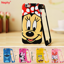 Nephy Cartoon Phone Case For iPhone 7 6 6S Plus 7Plus Cover Cute Stitch SpongeBob Daisy Minnie Mobile Housing Capa Hard Coque(China)