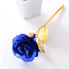 Forever Love Metal Gold Foil Rose With Gift Box 25cm Blue Gold Dipped Rose Valentine's Day Sweet Gift