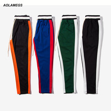 Aolamegs Men casual pants contrast color side stripe track pants high street fashion retro sweatpants straight skateboard pants