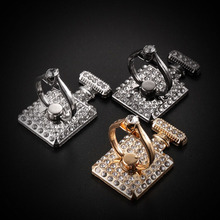 5Pcs Wholesale Perfume Bottle Bling Diamond Ring Holder Sticker Universal Mobile Phone & Tablets Metal Finger Grip Phone Stand(China)