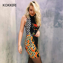 KOKKIRI summer dress 2017 Sexy street style women turtleneck bodycon runway dresses Casual plaid fire print mini vestidos