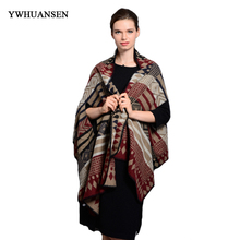 YWHUANSEN Autumn Winter Large Size Ponchos Capes Autumn Winter Women Warm Scarf Faux Cashmere Multifunctional Scarf Stole Coat(China)