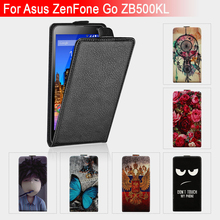 "High Quality Luxury Flip Leather Case For Asus ZenFone Go ZB500KL ZB500KG 5.0"" Case Flip Phone Cover Cartoon Protective Case"