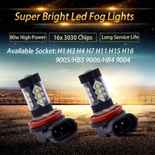 2pcs 2017 New Arrival Fog Lights 6000K White 80W Car Fog Lamps DRL Bulbs H1 H3 H4 H7 H8 H11 H15 H16 9005/HB3 9006/HB4 9007 Bulb
