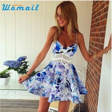 Womail Women Summer Sleeveless Dresses V neck Fashion Floral Print Slim Wave Pattern Beach Casual Dress Gift 1pcs