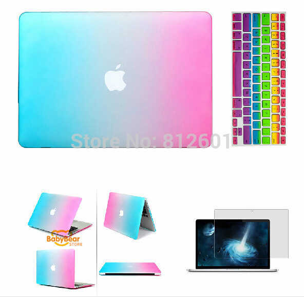 3 in 1 Rainbow Matt Case cover+ silicone K Screen Protectoreyboard Cover+ For Apple Mac Book Pro 11 12 13 15 without logo<br><br>Aliexpress