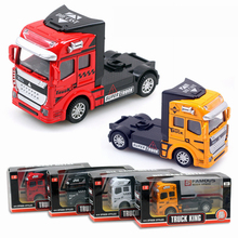 4 Color Truck Head High Quality Alloy Plastic Vehicles Model Toy Pull Back Car Dinky Toys For Children Birthday Boy Gift jouet