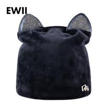 Rhinestone beanies cap with ears skullies women autumn winter hats for ladies fashion beanie cat hat women casual velvet caps(China)