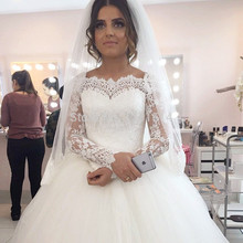 Buy Real Pictures Ball Gowns Wedding Dresses 2017 Vintage Long Sleeve Lace Appliques Princess Bridal Gowns Vestidos De Novia Sale for $151.20 in AliExpress store