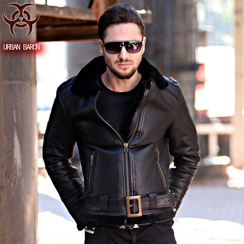 2017 New Men Genuine Cowskin Leather Fur Coat Think Black Belt Slim Fit Large Size XXXL Male Winter Warm Coat  FREE SHIPPING