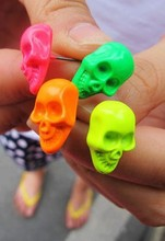 min order $ 7(mix order) hot sale Color earrings skull earring New Trendy Women Skull Pierced Candy earrings Jewelry Gift(China)