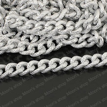 Width 14mm Aluminum oxidation process Imitation Silver color Embossing Extended Twisted Chains DIY Findings 1 Meter (JM2998)