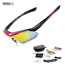 WOSAWE Professional Polarized Cycling Glasses Bike Goggles Motocross Bicycle Sunglasses UV 400 With 5 Lens