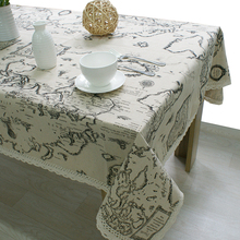 High Quality Rectangular World Map Lace Square Table Cloth Cover cotton Linen Tablecloth Home Restaurant Decoration Beige