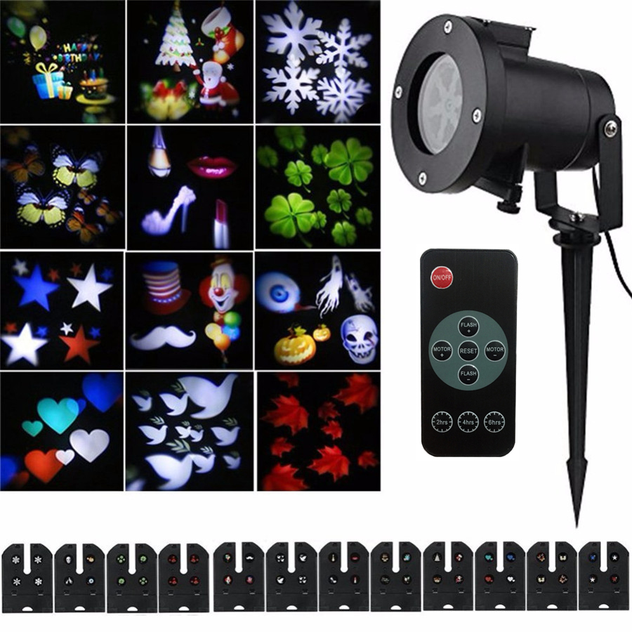 Thrisdar Christmas Snow Laser Projector Light 12 Slide Outdoor Star Snowflake LED Stage Light For Party Landscape Garden Light<br>