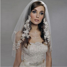 Sequiend Appliques Wedding Veils Long one Layer Wedding Veil With Comb Ivory white Elegant Wedding Accessories QYY03105
