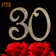 (15 pieces/lot)wholesale number 30 cake topper rhinestone cake toppers for birthday cake decoration(China)