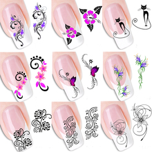 50pcs Summer Hot Beautiful Flowers Nail Art Stickers Water Transfer Decals Nail Art Beauty Wraps Tools for Polish TRXF1422-1469(China)