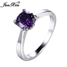 JUNXIN Fashion Small Purple Round Ring Cute Princess White Gold Ring Promise Engagement Rings For Women Girlfriend Gift