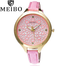 MEIBO Luxury Brand Fashion Hollow Skeleton Flower Watch Women Casual Leather Strap Quartz Wrist Watch Relogio Feminino Clock(China)