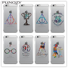 Harry Potter Hogwarts Castle Deer Magic Watercolor Cover Soft TPU Clear Silicon Phone Case For iPhone 6 6S Plus SE 5S 7 Plus 4S(China)