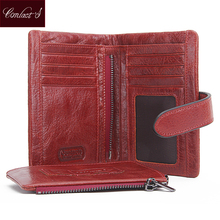 CONTACT'S NEW High Quality Red Leather Genuine Wallet Women Purse Card Holder Brand Hasp & Zipper Women's Wallets Dollar Price