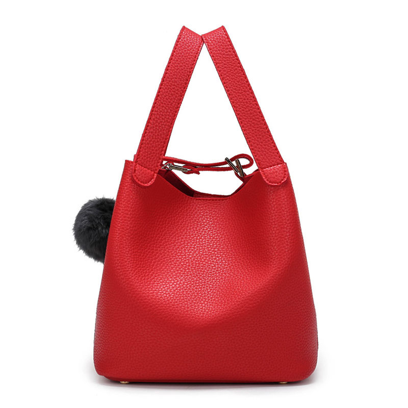 2017 Winter New Women Top-Handle Bags Luxury Designer Handbags With Fur Ball High Quality Small Mini Bucket Bag Red Black Pink<br><br>Aliexpress