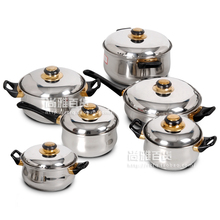 Cooking tools 12 Pieces of Stainless Steel Cookware Set Soup Pot Milk Pot Fry Pan Combination Set Induction Apply