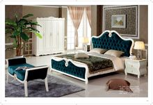 European Style King Bed With Luxury Design green bedroom furniture with beside table