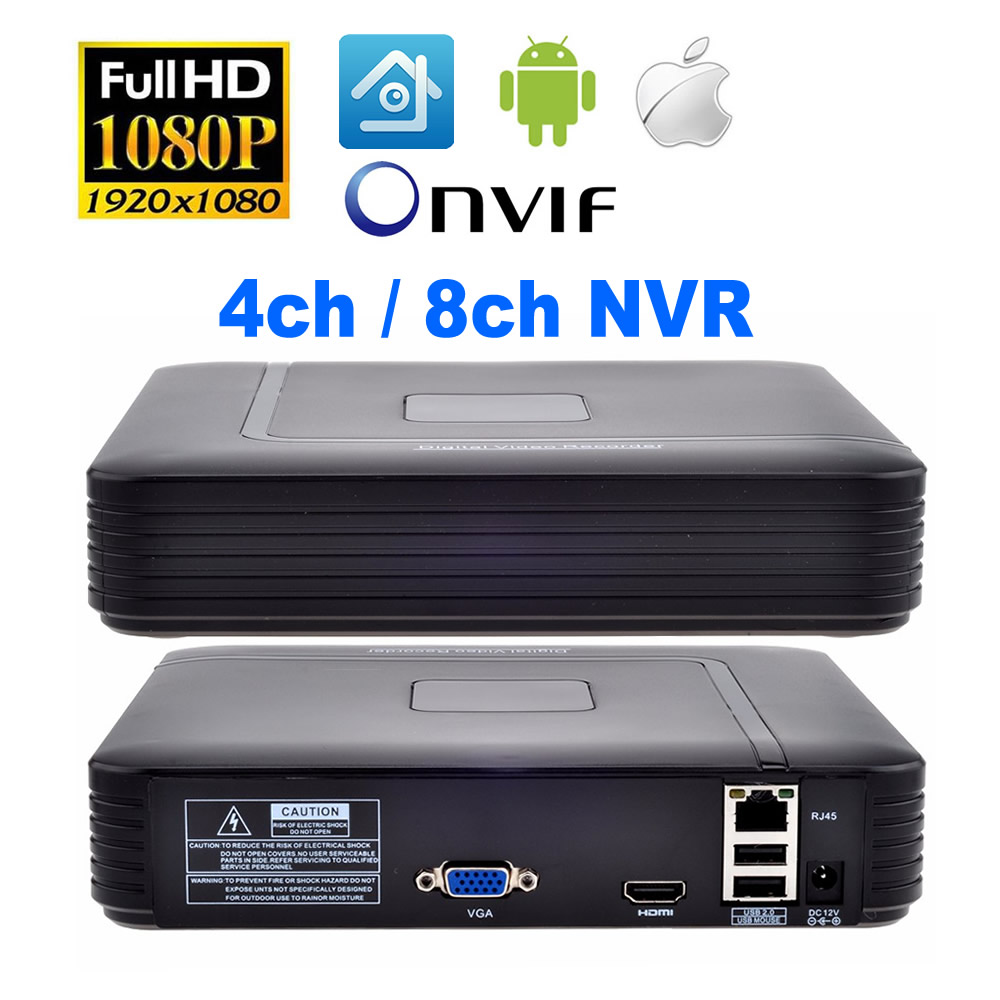 4CH/ 8CH CCTV NVR 1080P HDMI Xmeye Onvif H.264 Network Video Recorder for IP Camera Cloud Security System Surveillance<br>