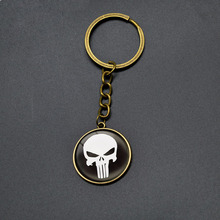 Hot Sell Classic Marvel DC Punisher Key Chains The Avengers Superhero Comics Keychain Skull Key Rings Teenagers Cartoon Jewelry