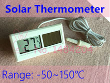 2 PCS  Portable Solar Powered Digital Thermometer -50~150 C Degree with 1m Cable Free Shipping Energy Saving