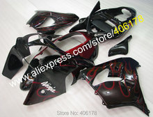 Hot Sales,Low price red flame in black ABS fairing kit for KAWASAKI ZX 9R 2000 ZX9R 2001 Ninja customize motobike parts